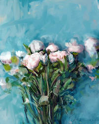 White, rose and blue