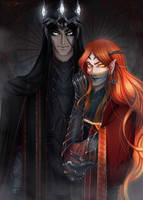 Melkor and Sauron by AYAMEKURE