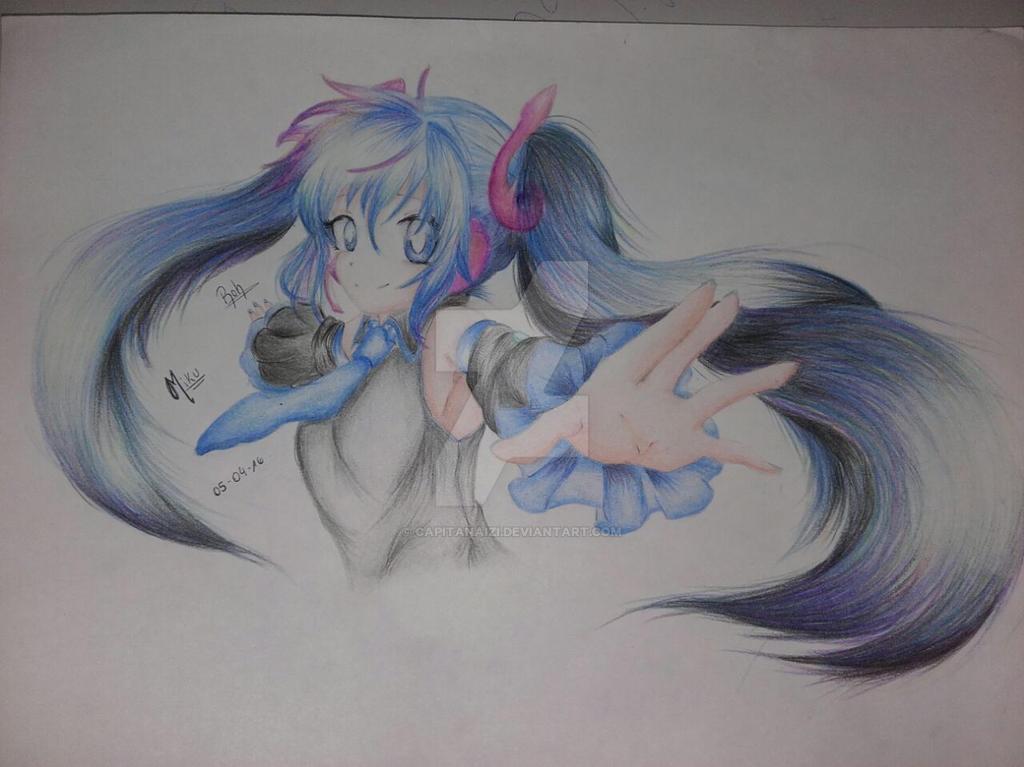 Miku Hatsune draw by CapitanaIzi