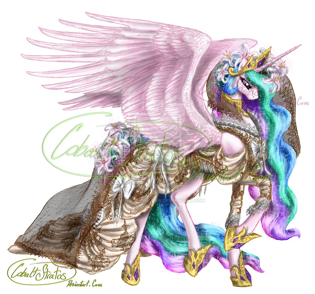 Celestia's gown for the Gala by The-Blue-Unicorn