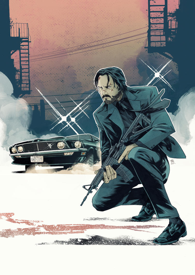 John Wick [Pencil and ink on paper/Digital Colors] by LudoDRodriguez