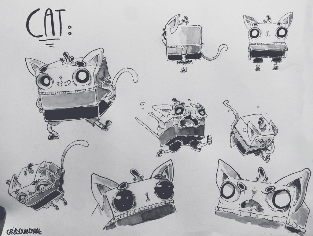 Cube cat chara design by Gribouillonne