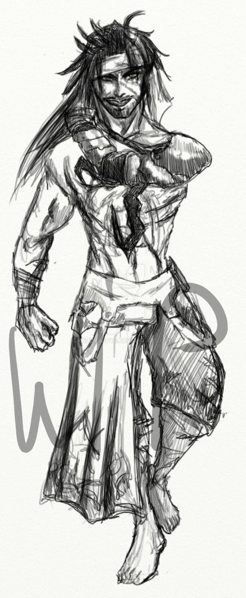 Sketch WIP 4 - Jecht by WizzardFye