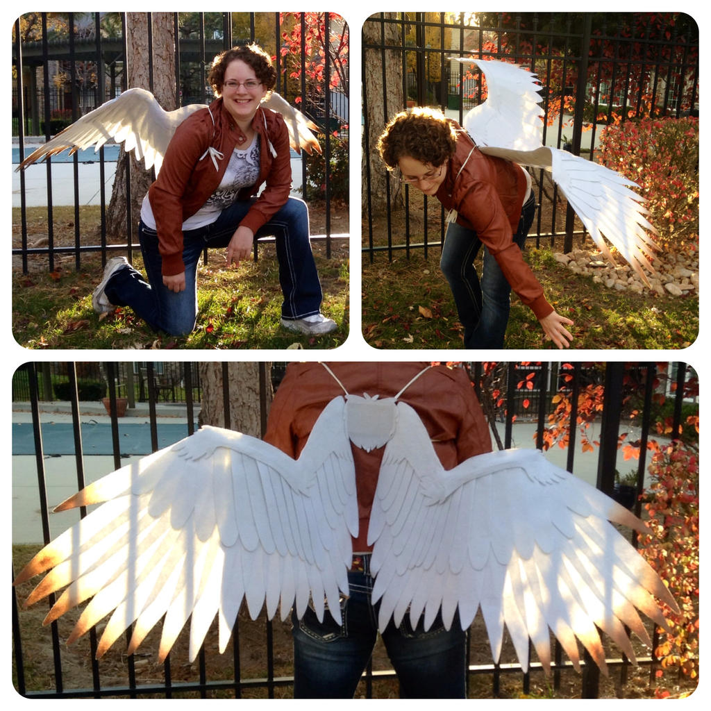 White Bronze Tipped Cosplay Wings by ThePinkPoudo