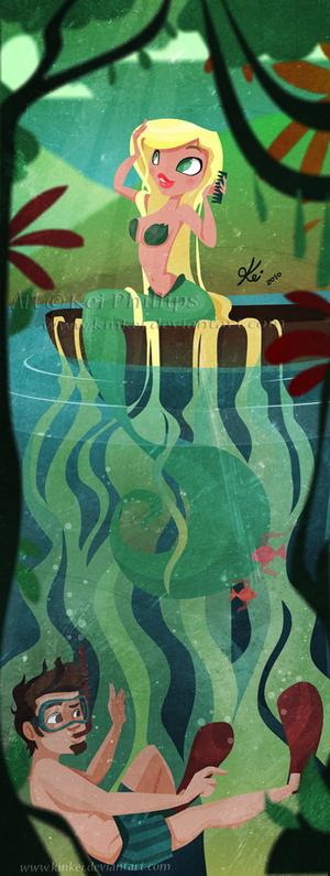 Mermaid and diver