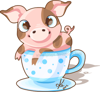 tea cup pig by kinkei