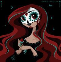 sugar skull lady by kinkei