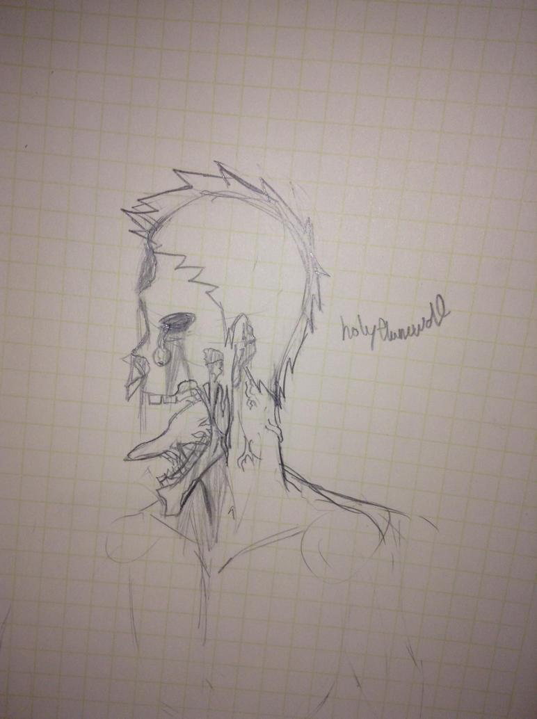 Original Zombie sketch by holyflamewolf