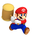 Mario Running with Paper Mario Hammer
