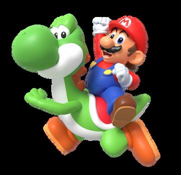 CLASSIC Mario and Yoshi (Render) by Nintega-Dario