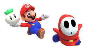 Mario Chasing Shy Guy with a Turnip Render