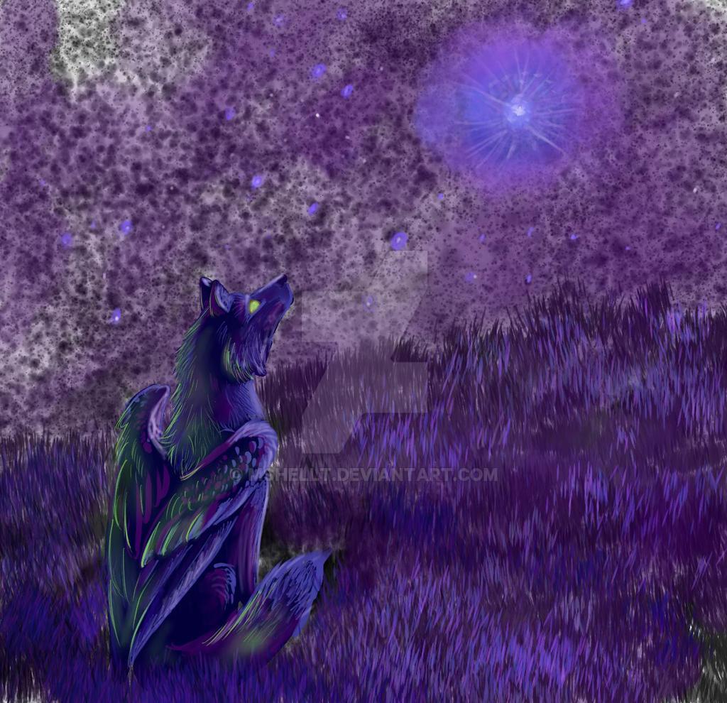 Winged Wolf Star-Gazing by Mshellt