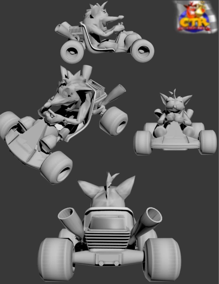 Ctr kart in hd 3d model by hacksponge on deviantart for Deviantart 3d models