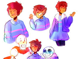 older frisk doodles by almostbread