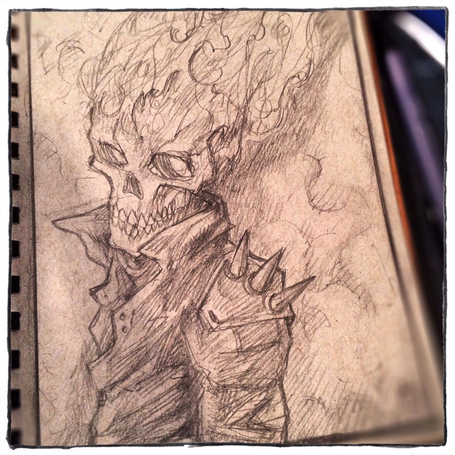 skullyjuly 10 ghost rider pencils by kamenliter on