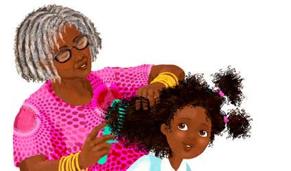 Wanda getting hair combed