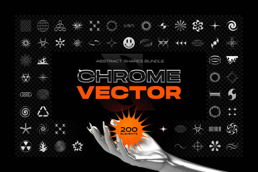 Chrome and vector abstract shapes bundle
