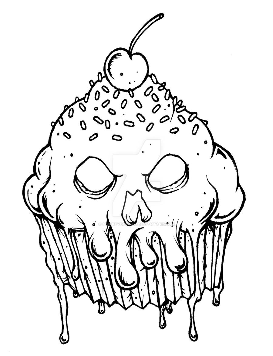 Evil cupcake by munkeydmetal on deviantart Horror coloring book for adults