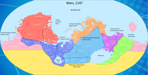 The Planet Mars, 2147 CE (Poltical Map)