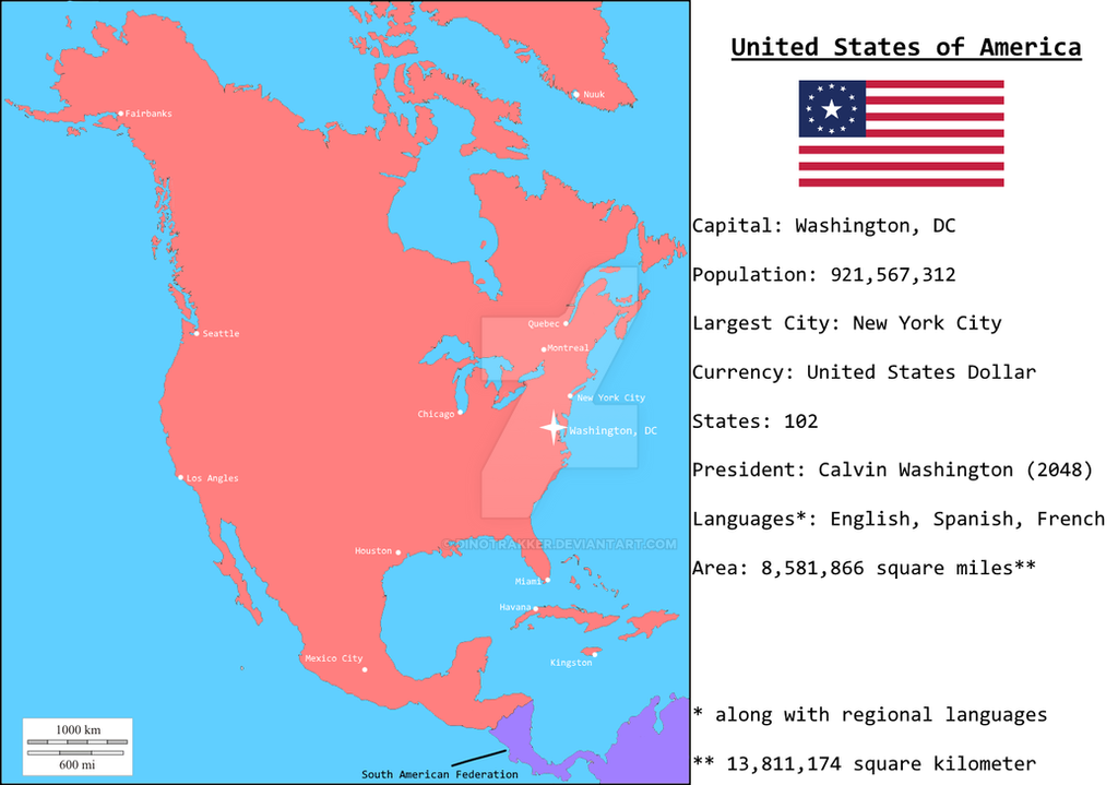 Map Of America 2050.The United States Of America 2050 Poltical Map By Dinotrakker On