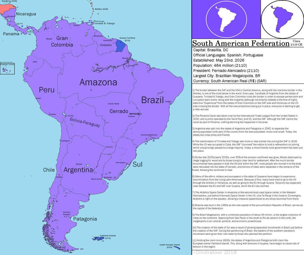FOH) the South American Federation, 2110 CE by Dinotrakker ... South America State Map With Equator on were is the equator, globe with equator, north and south equator, map of america with equator, south american map, earth with equator, south us map, south america homes, costa rica map and equator, map of the world equator, ecuador equator, south american countries with equator, south of america, south america equator countries, south america and its capitals, latin america with equator, south america oceans, map showing equator, earth's equator, brazil with equator,
