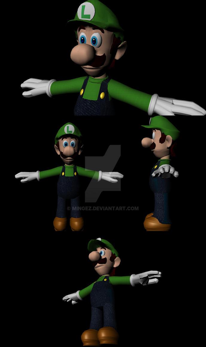 Luigi 3d model by mingez on deviantart for Deviantart 3d models