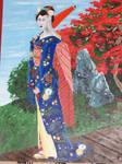 Geisha au kimono bleu