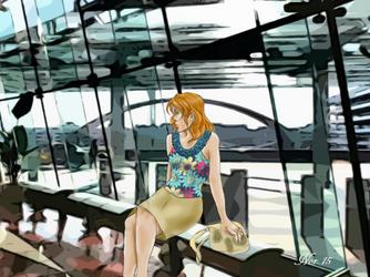 Hitomi Kanzaki in airport(escaflowne project) by Midori-ossan