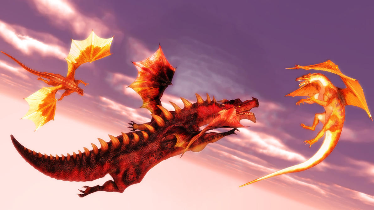 Dragons Battle at Sunset by argel1200