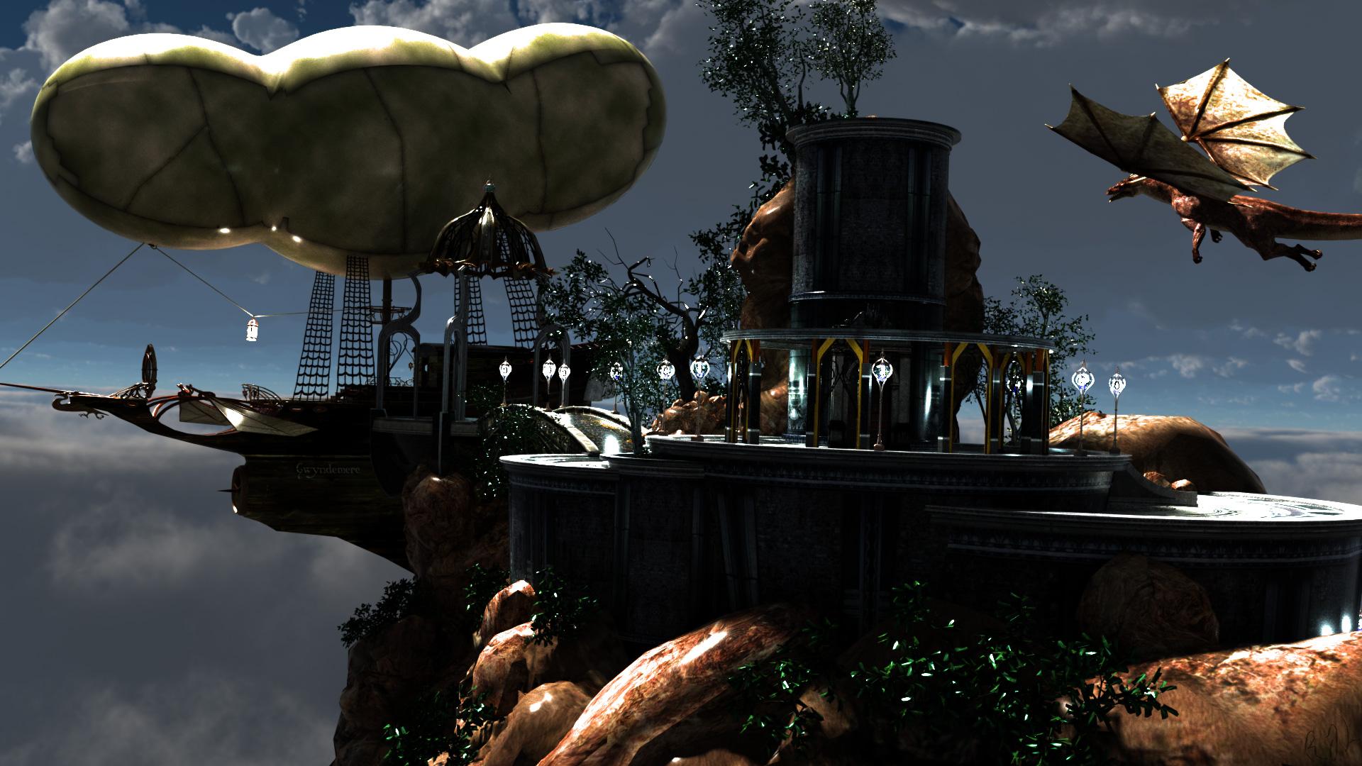 Elfen Citadel Skyship Night 2 by argel1200