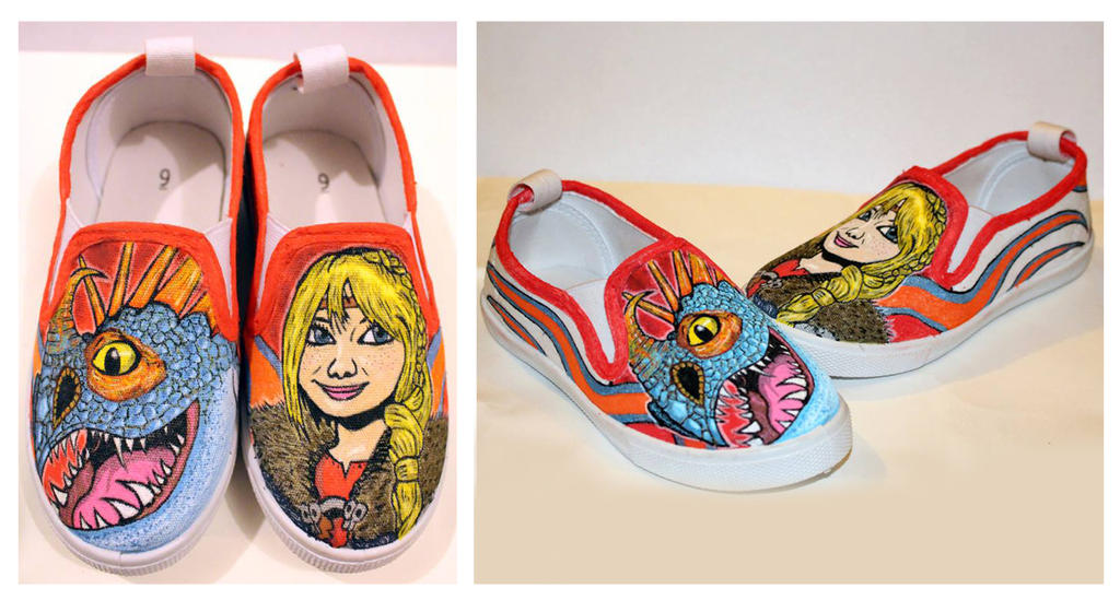 How to Train your Dragon Astrid and Stormfly shoes by nicitadesigns