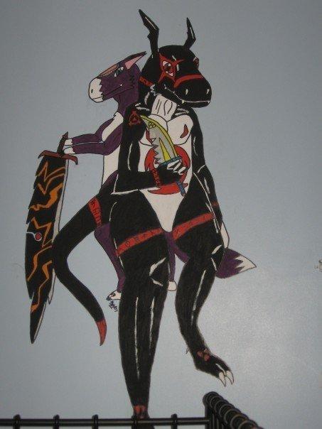 Dorumon and BlackGuilmon by Kitamon