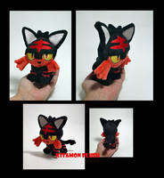 Pokemon - Tiny Litten custom plush OOAK ebay sale by KitamonPlush