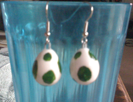 Yoshi Egg earrings by Red-Flare
