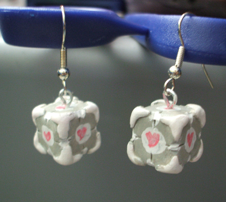 Commish: Portal Cube Earrings by Red-Flare
