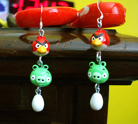 Angry Birds Dangle Earrings by Red-Flare