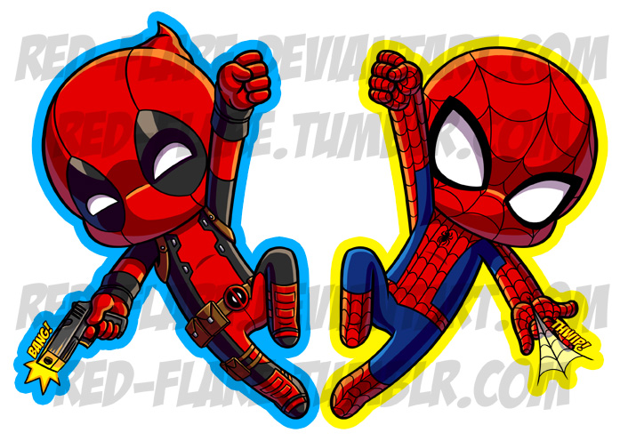 Spider-man and Deadpool Chibi Keychains by Red-Flare