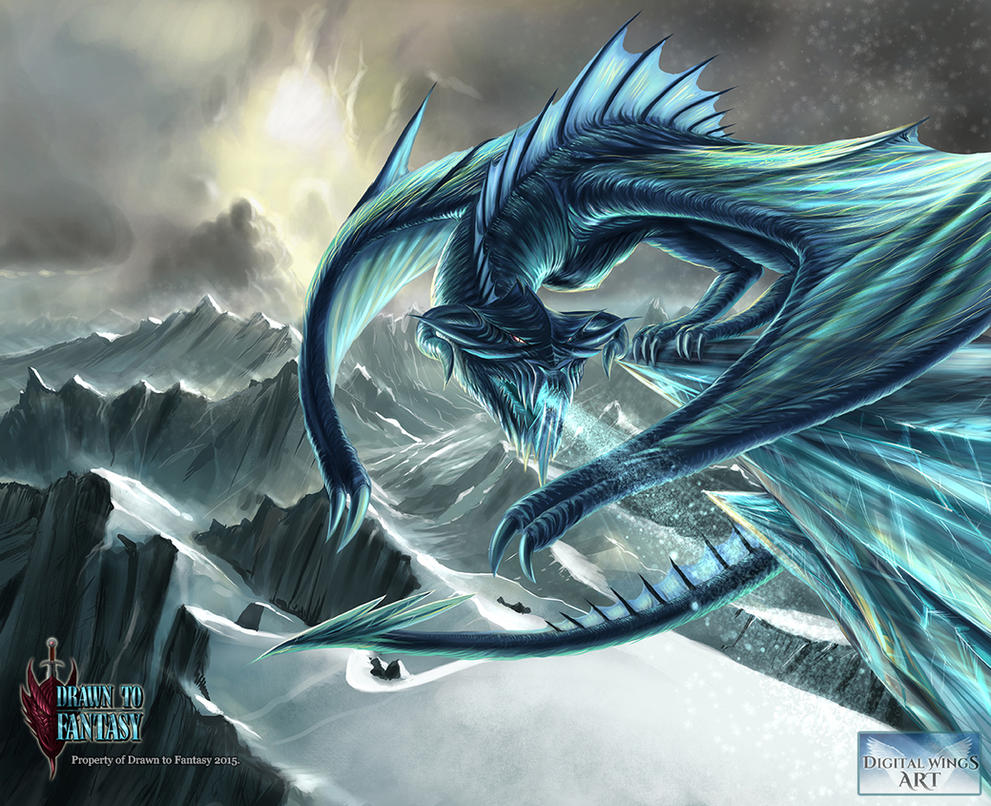Ancient ice dragon digital wings art comp by for Buy digital art online