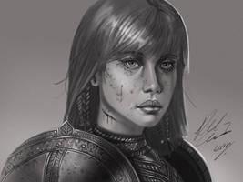 Female Knight Sketch by RobertCrescenzio