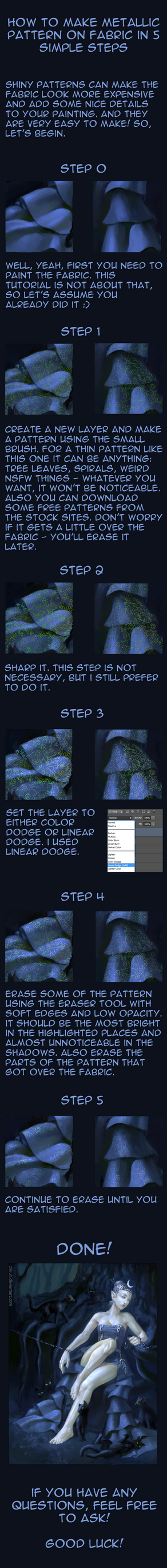 Easy way to draw metallic pattern on fabric by chirun
