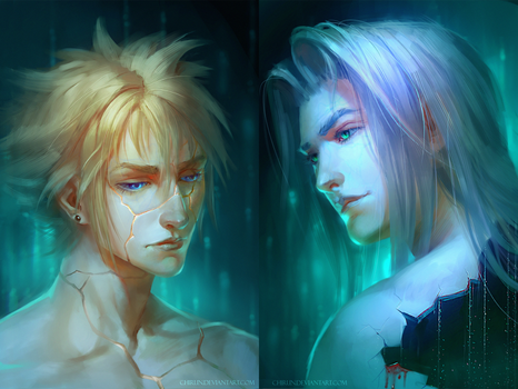 Sephiroth and Cloud - kintsugi