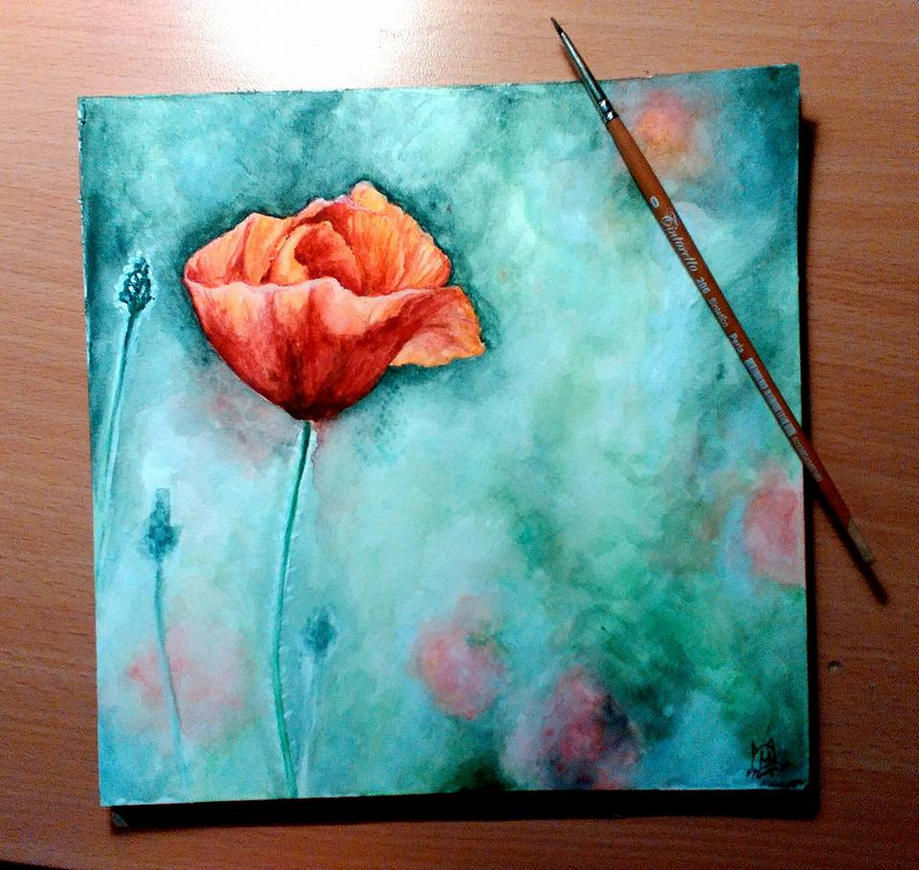Watercolor study - Poppy *_* by Eltoras