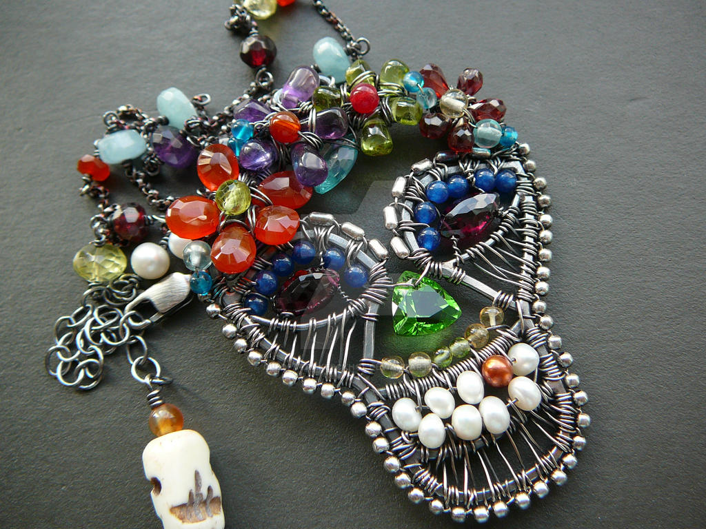 Sugar Skull sterling silver wire wrapped pendant by ...
