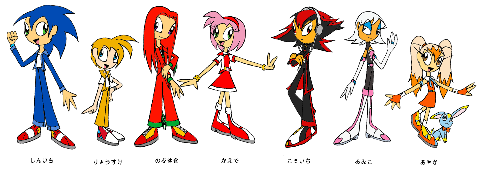 Human Sonic Doubles Color By Lyravulpictor On Deviantart