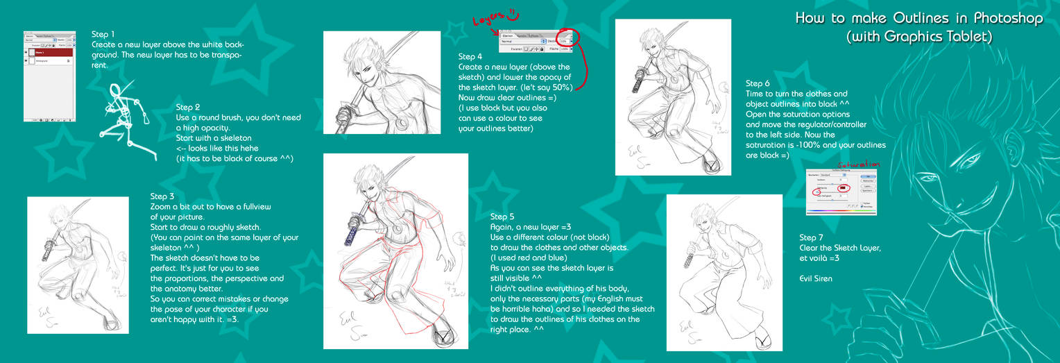How to make Outlines in PS by Evil-Siren on DeviantArt
