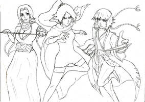 Bleach - Rangiku and Yoruichi and Soifon by Katong999