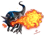 Rampardos used Flamethrower by Dreamgate-Gad
