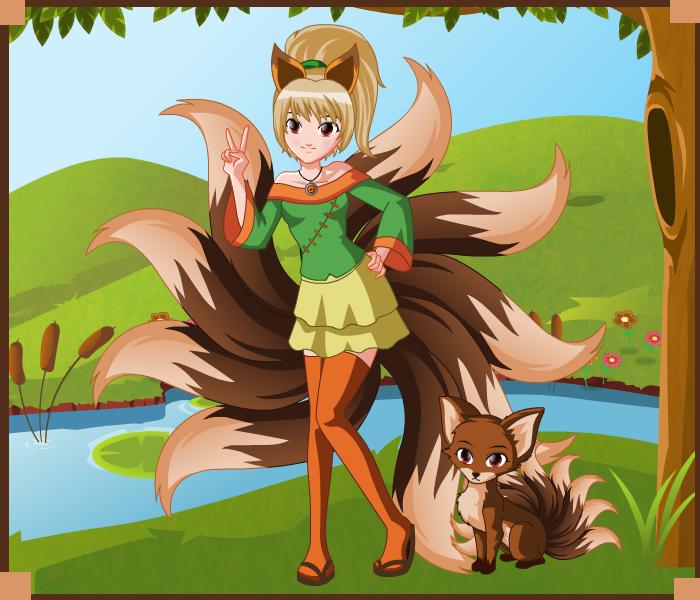 Mia Rokos the Kitsune - Human Form and Fox Form by SassyDragon18 ...