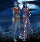 Shelley and Spindora - Na'vi forms by SassyDragon18