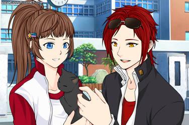 Atom and Sassy - Meeting Umbra the Black Cat